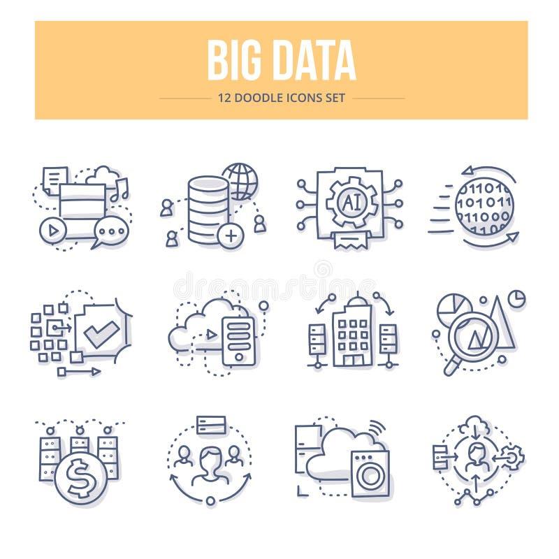 Große Daten-Gekritzel-Ikonen lizenzfreie abbildung