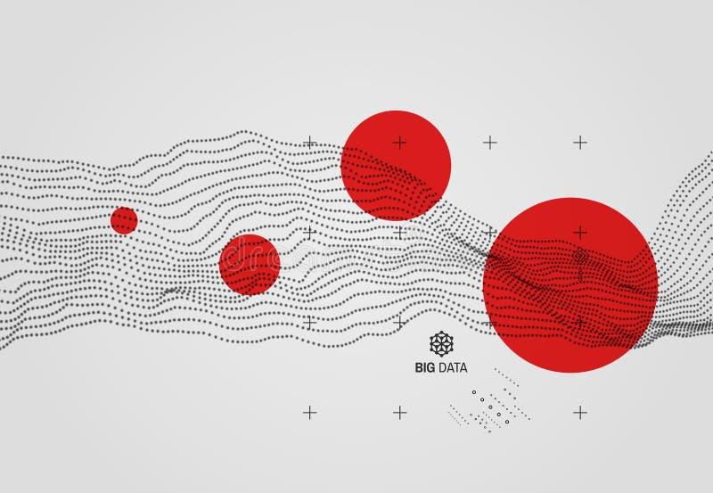 Große Daten Gewellter Hintergrund mit Bewegungseffekt Art der Technologie-3D vektor abbildung