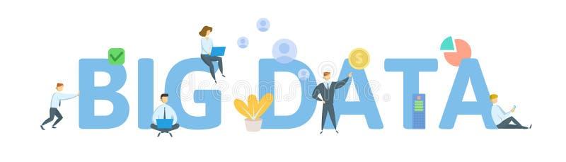 Große Daten Konzept mit Schlüsselwörtern, Buchstaben und Ikonen Flache Vektorillustration Getrennt auf weißem Hintergrund lizenzfreie abbildung