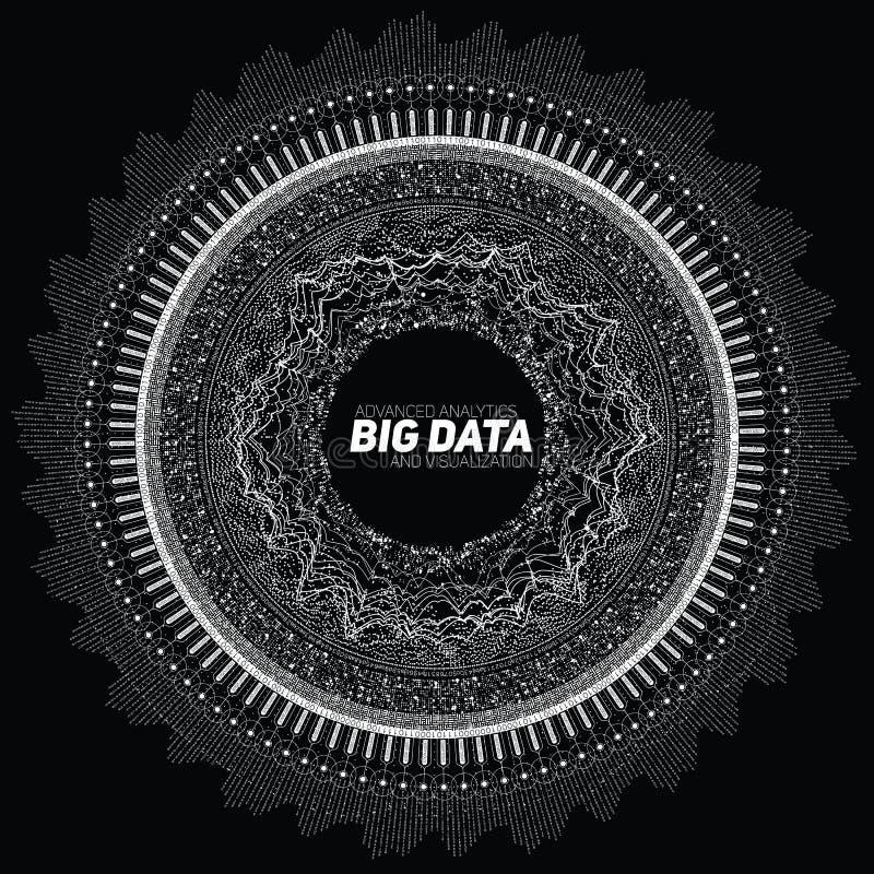 Große Daten Kreisgrayscalesichtbarmachung Futuristisches infographic Ästhetisches Design der Informationen Sichtdatenkomplexität stock abbildung