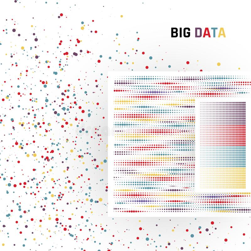 Große Daten Verarbeitung von strukturierten und unstrukturierten Daten von enormen Volumen Vektor stock abbildung