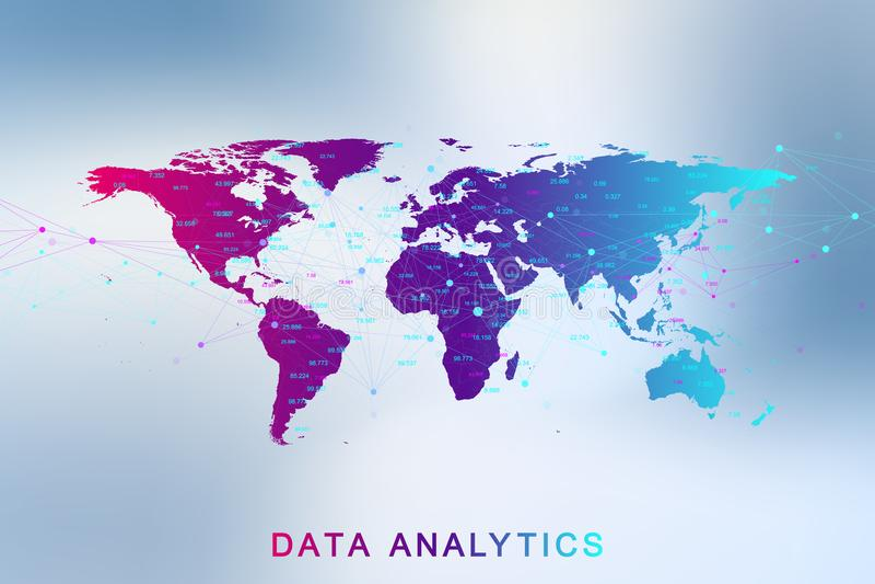 Große Datenanalytik und Handelsnachrichten Digital-Analytikkonzept mit Diagramm und Diagrammen Finanzzeitplan Welt lizenzfreie abbildung