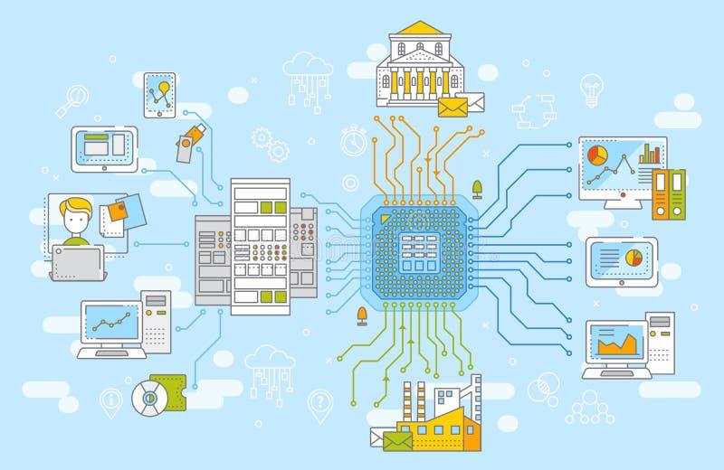 Große Datennetz-Managementkonzept-Vektorillustration Nachrichtenbeschaffung, Datenspeicherung und analysys lizenzfreie abbildung