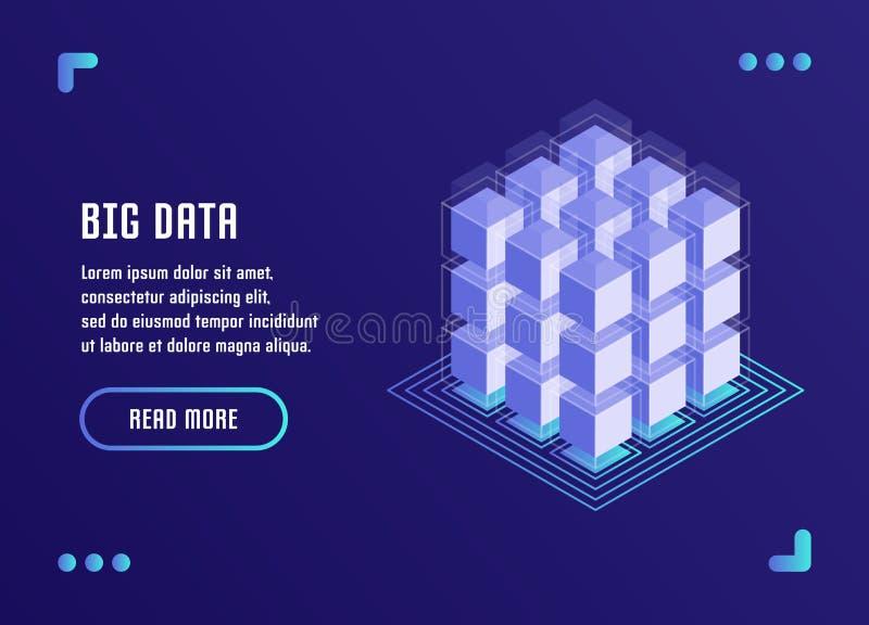 Große Datenverarbeitung, Datenanalyse, Datenspeicherung, Blockchain-Technologie Vektorillustration in der flachen isometrischen A vektor abbildung