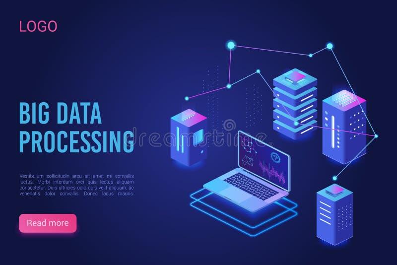 Große Datenverarbeitung und Analyse von Vorlagen für den Landeseitenvektor Analytische Datenserver, Server-Raum-Banner, Webhostin vektor abbildung