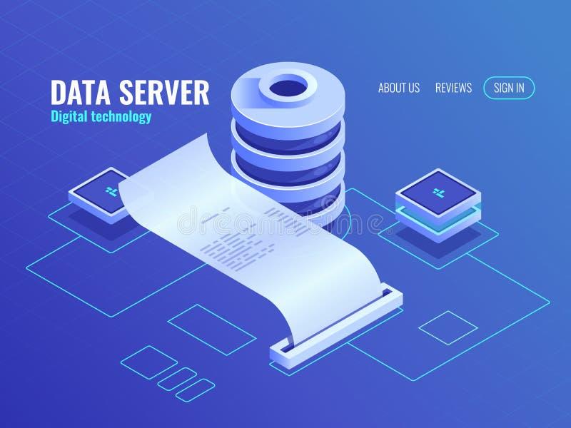 Große Datenverarbeitung und Analysieren der isometrischen Ikone, Druckausgabeinformationen von der Datenbank, Datenverschlüsselun stock abbildung