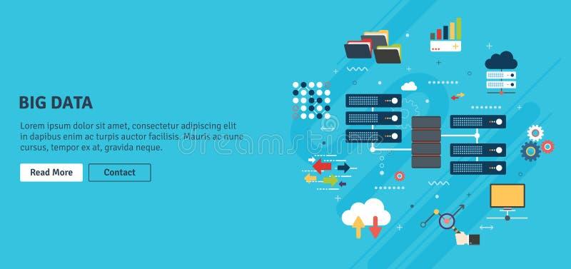 Große Datenverarbeitungsfahne der Daten und der Wolke mit Ikonen lizenzfreie abbildung