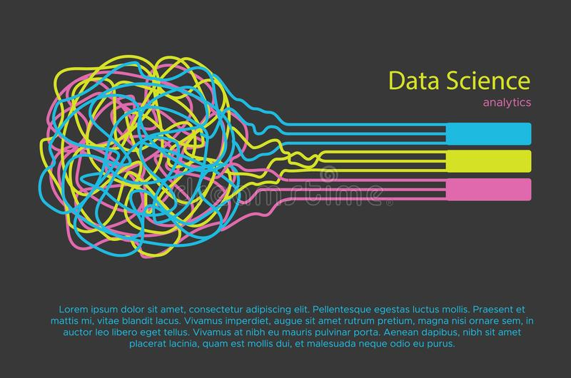 Große Datenwissenschaftsillustration Lernfähigkeit- einer Maschinealgorithmus für Informationsfilter und anaytic in der flachen G vektor abbildung