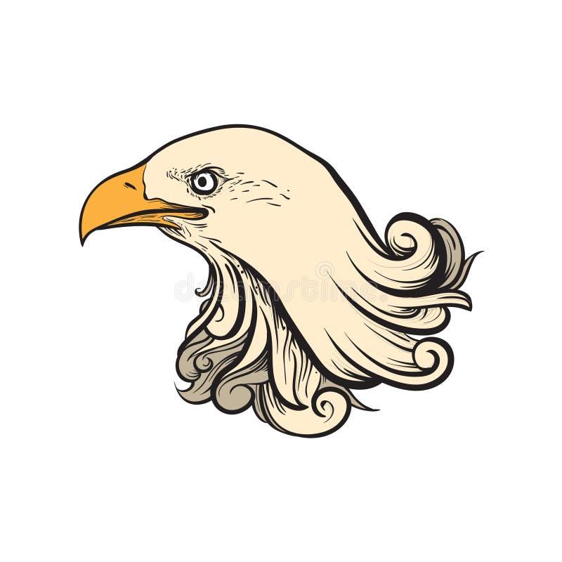 Große Eagle Head Ornament Vintage Art-Illustration lizenzfreie abbildung
