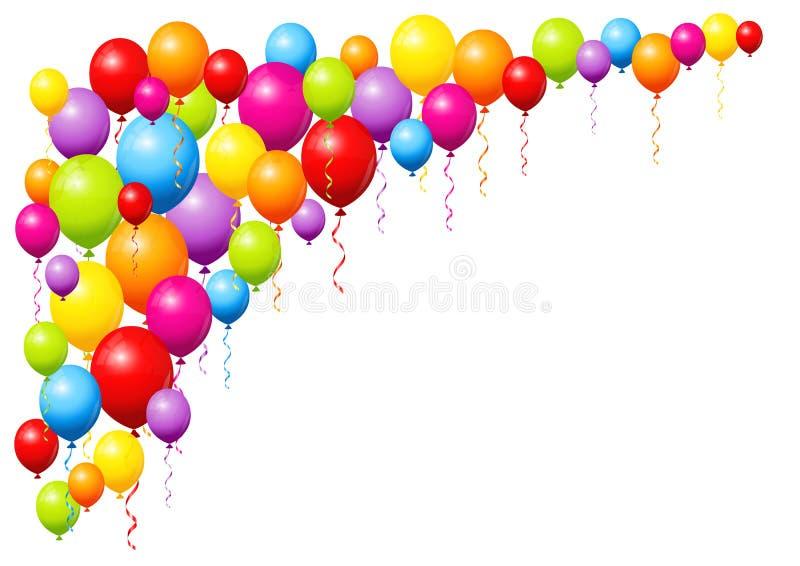 Große Ecken-bunter großer und wenig fliegender Ballon-Hintergrund lizenzfreie abbildung