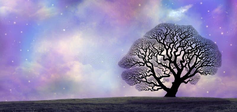 Große Eiche und magischer nächtlicher Himmel lizenzfreie abbildung