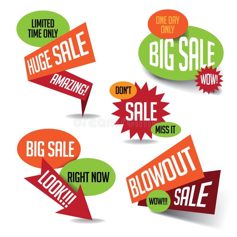 Große enorme Ausblasen-Verkaufsfahne und Explosionssammlung lizenzfreie abbildung