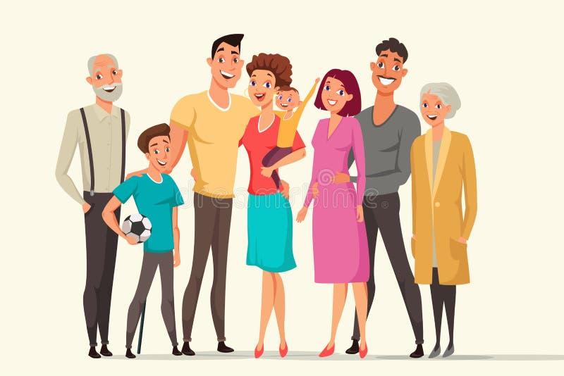 Große Familie, die flache Vektorfarbillustration nimmt vektor abbildung