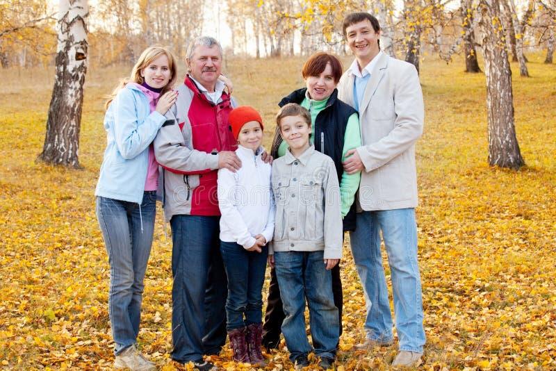Große Familie im Herbstpark lizenzfreies stockbild