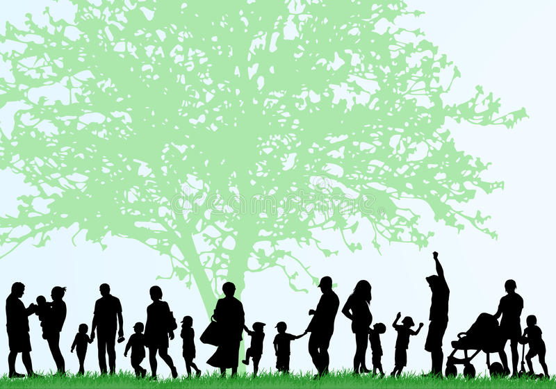 Große Familienschattenbilder vektor abbildung