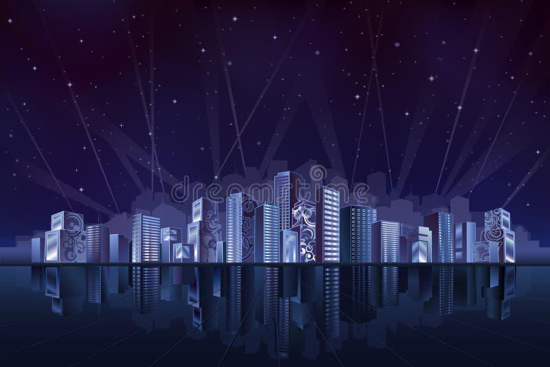 Große fantastische Stadt nachts stock abbildung