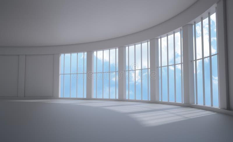 Große Fensterinnenraumansicht vektor abbildung