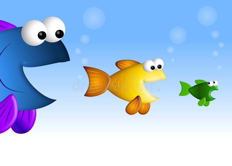 Große Fisch-kleine Fische lizenzfreie abbildung