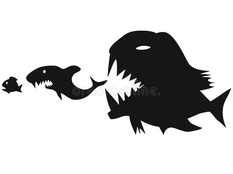 Große Fische, die kleine Fische essen stock abbildung