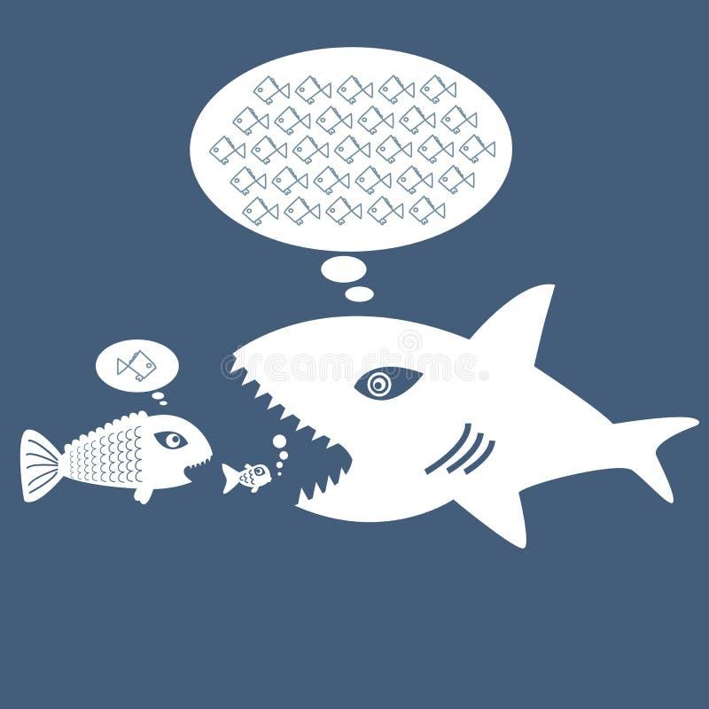 Große Fische essen kleine Fische lizenzfreie abbildung