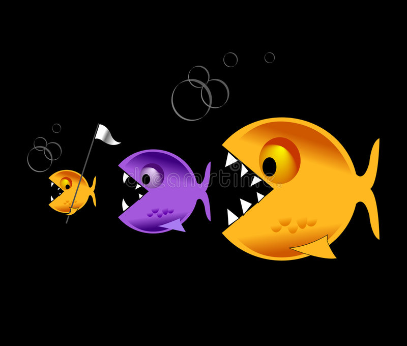 Große Fische essen kleine Fische vektor abbildung