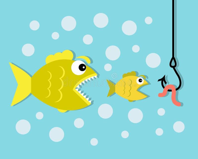 Große Fische essen kleinen Fisch-, Haken- und Wurmköder vektor abbildung
