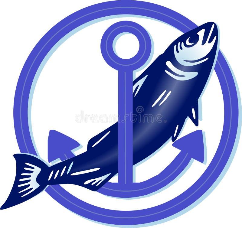 Große Fische mit Anker lizenzfreie abbildung
