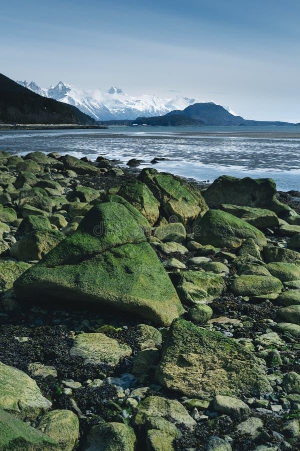 Große Flusssteine auf Alaska-Strand lizenzfreies stockfoto