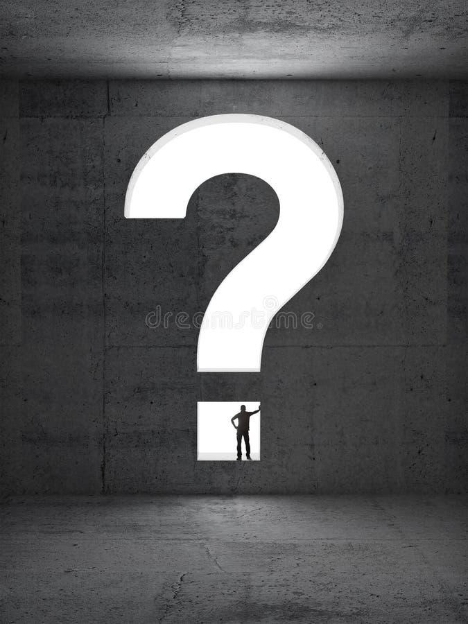 Große Fragenmetapher mit Mannschattenbild stockbild