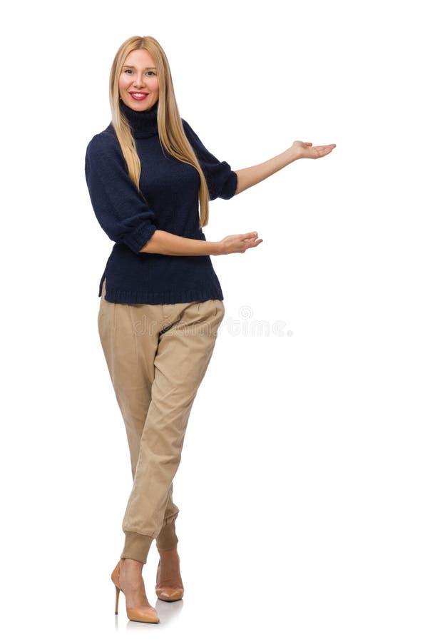 Große Frau im blauen Pullover lokalisiert auf Weiß lizenzfreie stockfotos