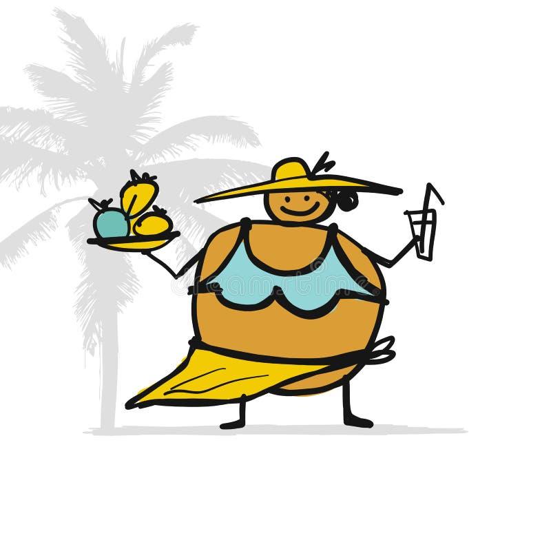 Große Frau mit Nahrung und Getränk auf dem Strand, Skizze für Ihren Entwurf lizenzfreie abbildung