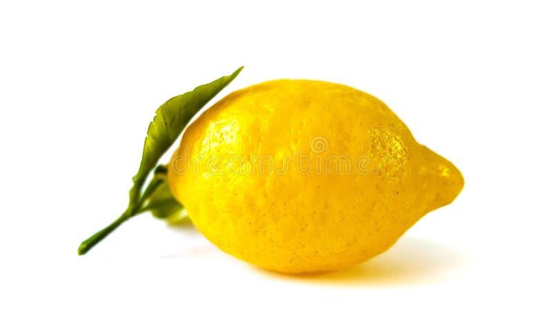 Große gelbe Zitrone liegt auf einer blauen Platte auf einem gelben Hintergrund lizenzfreie stockbilder