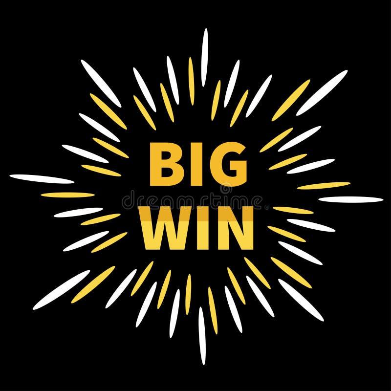 Große Gewinnfahne Goldener Text Sternexplosionsstoß Dekorationselement für on-line-Kasino, Roulette, Poker, Spielautomaten, Karte stock abbildung