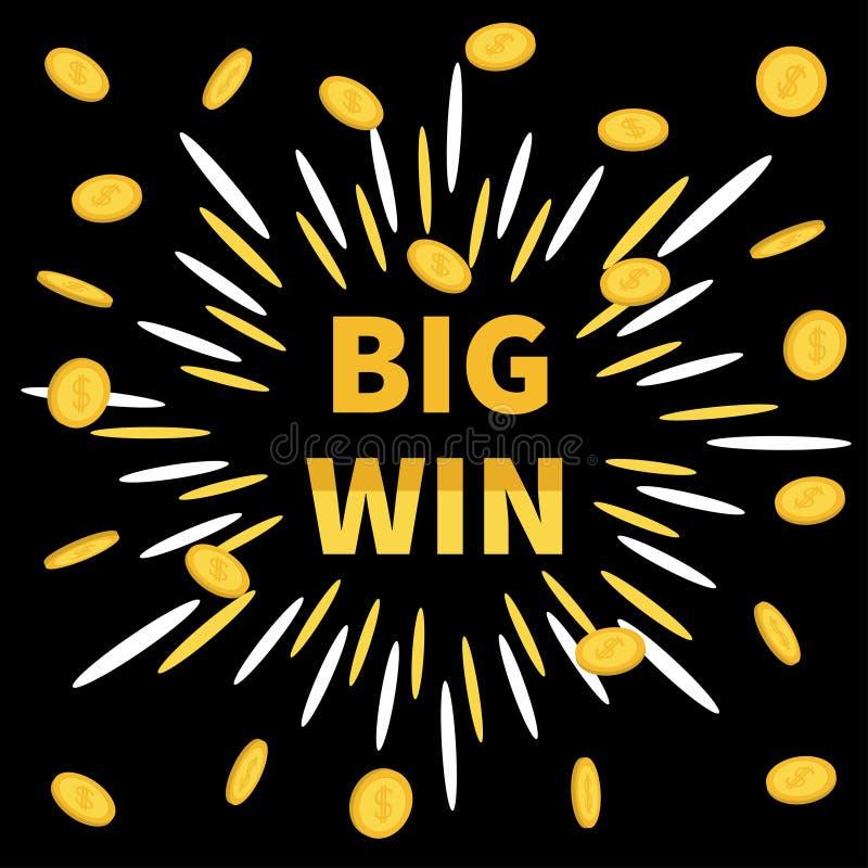 Große Gewinnfahne Goldenes Text Fliegenmünzenregen-Dollarzeichen Sternexplosion Dekoration für on-line-Kasino, Roulette, Poker, S stock abbildung