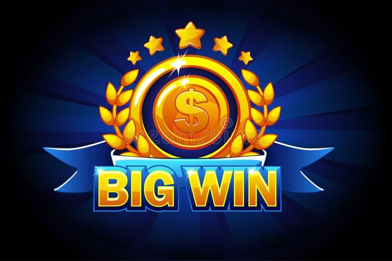 Große Gewinnfahne mit blauem Band und Text Vektorillustration für Kasino, Schlitze, Roulette und Spiel UI vektor abbildung