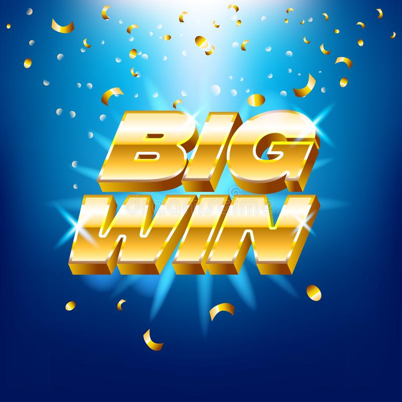 Große Gewinnfahne mit Goldtext für Kasinomaschinen, Glücksspiele, Erfolg, Preis, glücklicher Sieger, Vektorillustration lizenzfreie abbildung