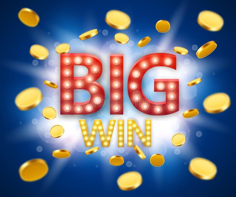 Große Gewinnglücksspielfahne mit großer Gewinnaufschrift- und -goldexplosion von Münzen lizenzfreie abbildung