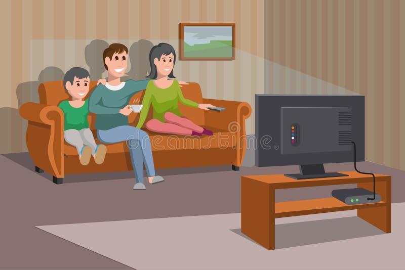 Große glückliche Familie, die auf Sofa fernsieht Mann mit Kaffeetasse Glättung der aufpassenden Fernsehserie Innenraum des Raumes stock abbildung