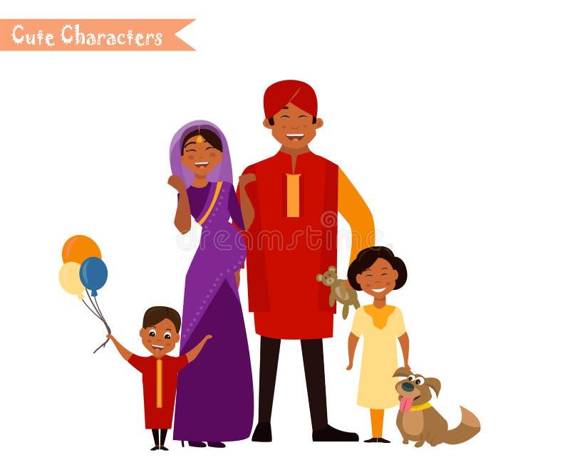 Große glückliche indische Familie lizenzfreie abbildung