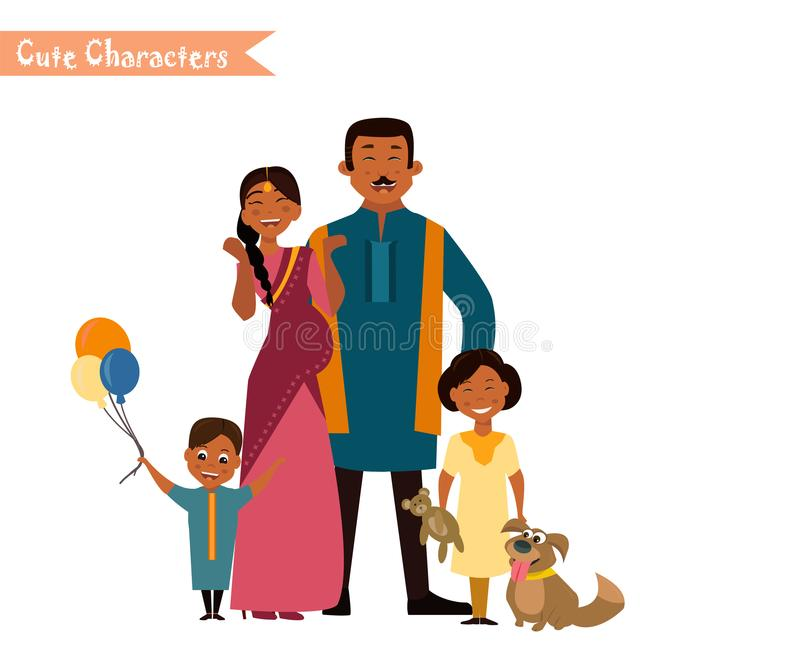 Große glückliche indische Familie stock abbildung