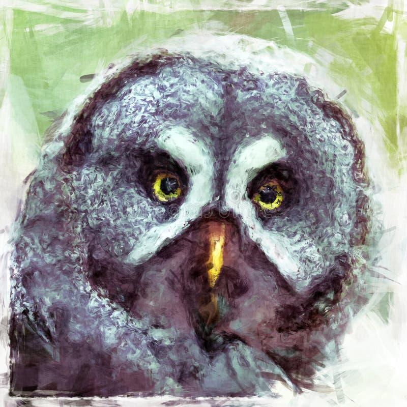 Große Grey Owl-Malerei lizenzfreie abbildung