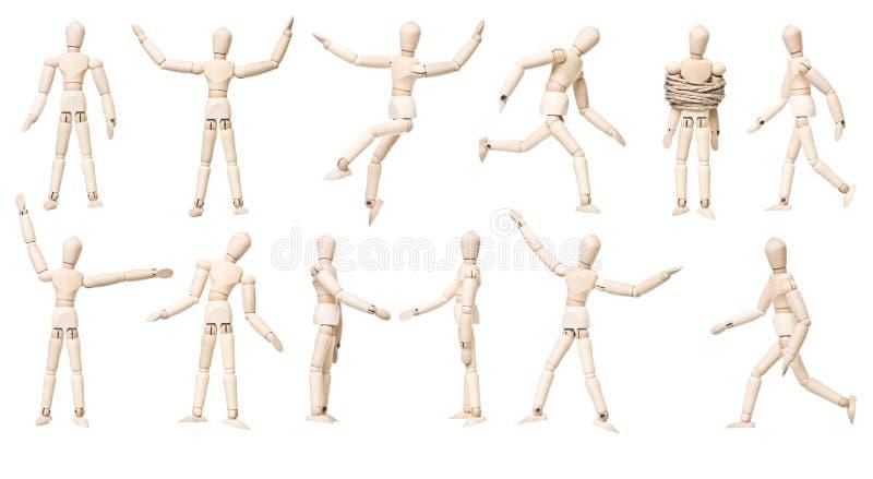 Große Gruppe Mannequin-Puppen mit unterschiedlichem Ausdruck stockfotografie