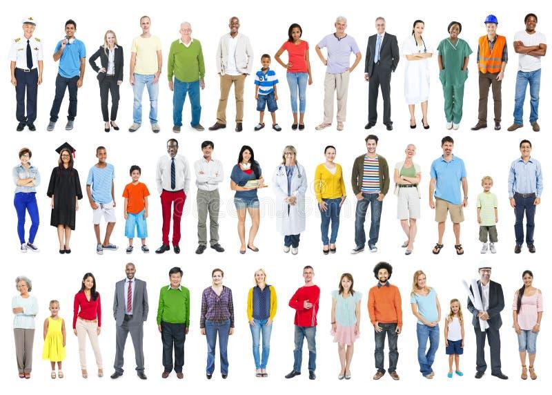 Große Gruppe multiethnische bunte verschiedene Leute stockbilder