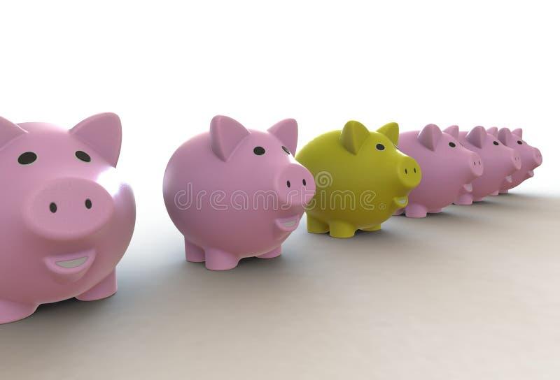 Große Gruppe rosa Sparschweine mit einem gelben Führer stock abbildung