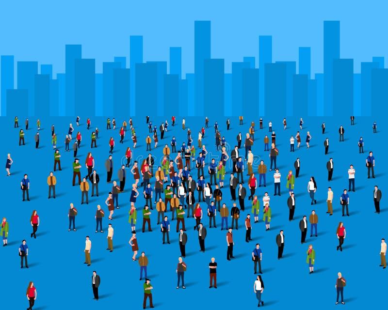 Große Gruppe von Personen über der Stadt Die goldene Taste oder Erreichen für den Himmel zum Eigenheimbesitze lizenzfreie abbildung