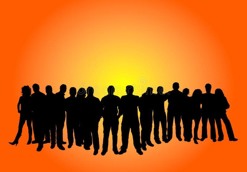 Große Gruppe von Personen stock abbildung