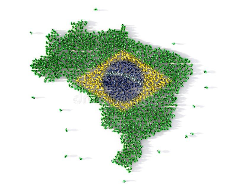 Große Gruppe von Personen, die Brasilien-Kartenkonzept bildet 3d lizenzfreie abbildung