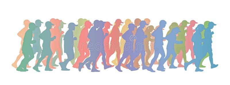 Große Gruppe von Personen, die buntes Schattenbild laufen lässt lizenzfreies stockbild