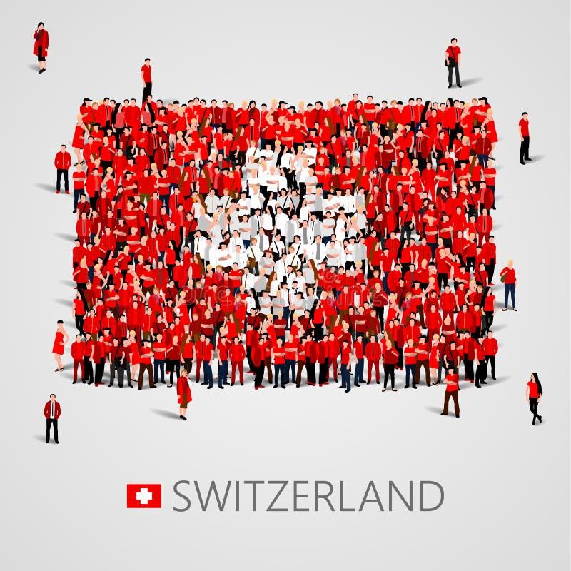 Große Gruppe von Personen in Form der Schweizer Flagge Schweizer Eidgenossenschaft Die Schweiz-Konzept lizenzfreie abbildung