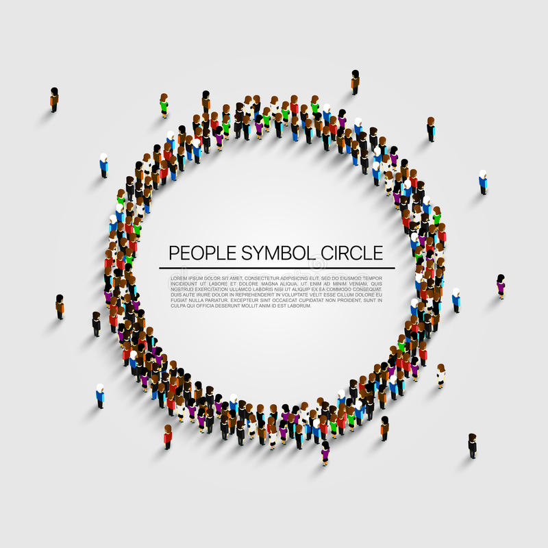 Große Gruppe von Personen in Form des Kreises Auch im corel abgehobenen Betrag stock abbildung